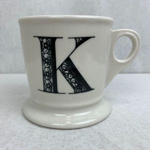 Anthropologie Monogram K Coffee Mug Shaving Mug